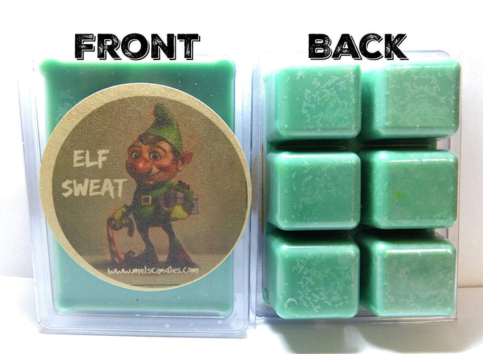 Elf Sweat 3.2 Ounce Pack of Soy Wax Tarts (6 Cubes Per Pack) Novelty- Scent Brick, Wickless Candle - mels-candles-more
