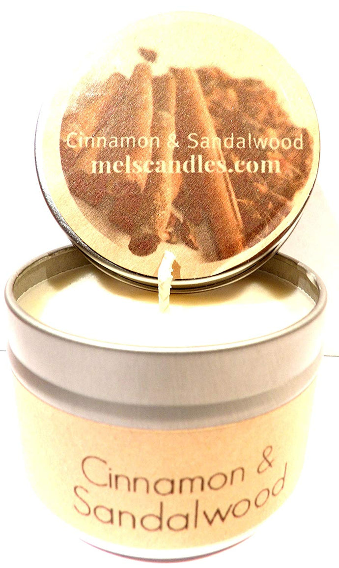 Cinnamon and Sandalwood 4oz All Natural Novelty Tin Soy Candle, Take It Any Where Approximate Burn Time 30 Hours - mels-candles-more
