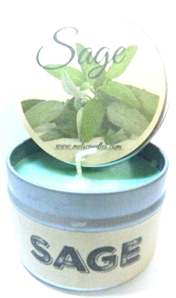 Sage 4 Ounce 100% Soy Candle Tin - Handmade in the Great USA - mels-candles-more