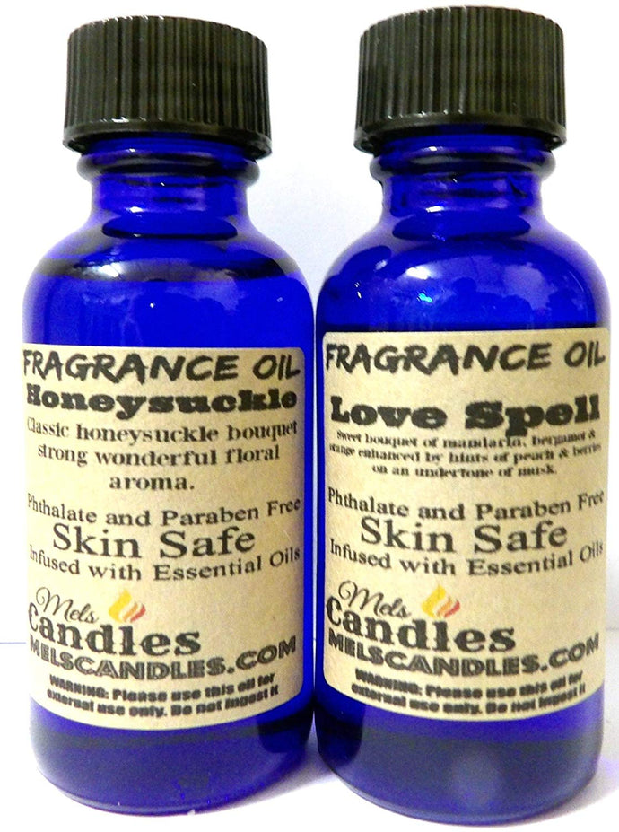 Combo -Love Spell and Honeysuckle - 1 oz   29.5 ml Glass Bottle - Premium Grade A Quality Fragrance Oil - mels-candles-more