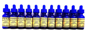 Set of 11 Liquid Candle Dyes - 1 oz Glass Dropper Bottles