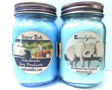 Combo Set of Tow Eucalyptus and Vicks Vapor Type - 16oz Country Jar Scented Soy Candles - mels-candles-more