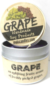 Grape 4oz All Natural Soy Candle Tin (Take It Any Where) Great Fruit Aroma - mels-candles-more