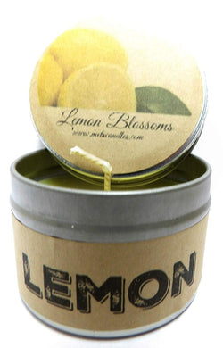 Lemon Blossoms 4oz 100% Pure Handmade Soy Candle Tin - Made in The Usa Free Shipping - mels-candles-more