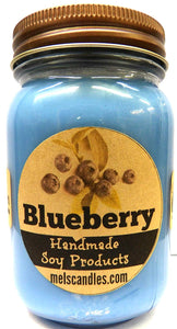 Blueberry 16 Ounce Country Jar 100% Soy Candle - Handmade in USA - mels-candles-more