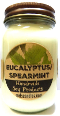 Eucalyptus and Spearmint 16oz All Natural Country Jar Soy Candle - Apx Burn Time 144 Hours - mels-candles-more