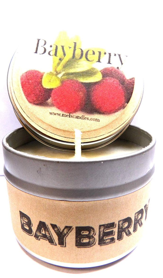 Bayberry 4oz All Natural Soy Candle Tin, Take It Any Where Handmade in Rolla Missouri - mels-candles-more