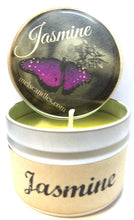 Load image into Gallery viewer, Jasmine 4oz All Natural Handmade Soy Candle Tin Approximate Burn Time 30 Hours Wholesale Candles - mels-candles-more