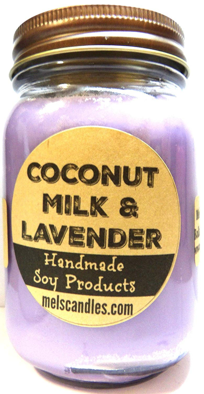 Coconut Milk & Lavender 16 Ounce Country Jar 100% Soy Candle - Handmade in USA - mels-candles-more