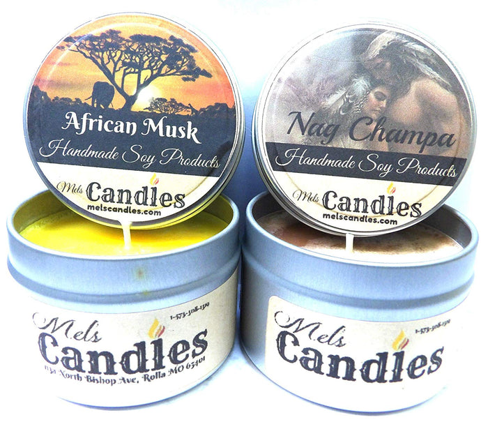 Combo - African Musk and Nag Champa - Set of Two 4oz All Natural Soy Candle Tins - mels-candles-more