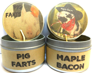 COMBO - Pig Farts and Maple Bacon - Set of TWO 4oz All Natural Soy Candle Tins - mels-candles-more