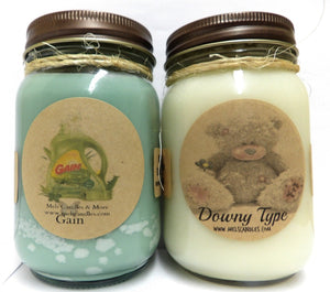 Gain Type and Downy Type- Set of Two 16oz All Natural Handmade Soy Candles Approximate Burn Time 144 Hours Each! - mels-candles-more