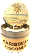 Load image into Gallery viewer, Caribbean Coconut 4oz All Natural Novelty Tin Soy Candle, Take It Any Where Approximate Burn Time 30 Hours - mels-candles-more