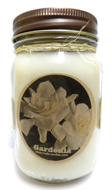 Gardenia 16 Ounce Country Jar 100% Soy Candle - Handmade in USA - mels-candles-more