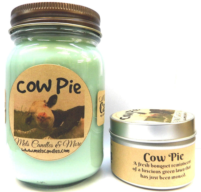 COMBO - Cow Pie  - 16 Ounce Country Jar Candle and 4 Ounce Candle Tin -Smells Like Fresh Cut Grass - mels-candles-more