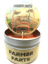 Load image into Gallery viewer, Farmer Farts - 4 Ounce 100% Soy Candle Tin - Fun, Fruity aroma with notes of cobbler - NOVELTY CANDLE - mels-candles-more