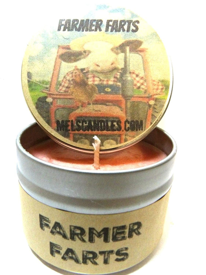 Farmer Farts - 4 Ounce 100% Soy Candle Tin - Fun, Fruity aroma with notes of cobbler - NOVELTY CANDLE - mels-candles-more