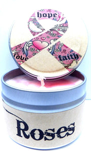 Hope Cancer Awareness (Rose Aroma) - 4oz All Natural Soy Candle Tin - mels-candles-more