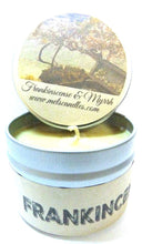 Load image into Gallery viewer, Frankincense and Myrrh 4oz All Natural Soy Candle Tin Approximate Burn Time 36 Hours - mels-candles-more