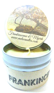 Frankincense and Myrrh 4oz All Natural Soy Candle Tin Approximate Burn Time 36 Hours - mels-candles-more