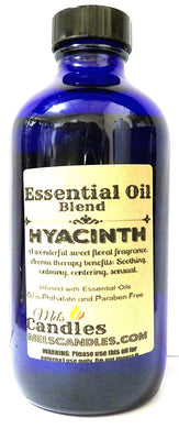 Hyacinth 8oz Cobalt Blue Glass Bottle of Premium Grade A Quality Fragrance Oil, Skin Safe Oil - Perfect for Candles, and All Bath and Body Products - mels-candles-more
