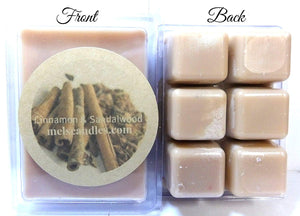 Cinnamon and Sandalwood -3.2 Ounce Pack of Soy Wax Tarts - Scent Brick Wax Melts - mels-candles-more