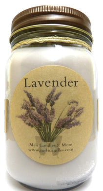 Lavender16 Ounce Country Jar 100% Soy Candle - Handmade in USA - mels-candles-more