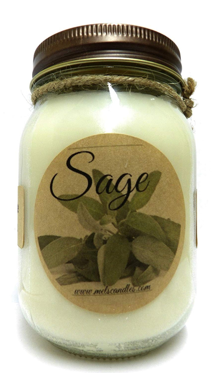 Sage 16oz Country Jar All Natural Handmade Soy Candle Approximate Burn Time 144 Hours - mels-candles-more