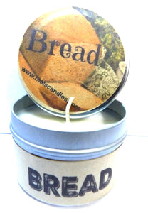 Bread (Fresh Baked) - 4oz Hand Made Soy Candle Travel Tin - Approximate Burn Time 36 Hours - mels-candles-more
