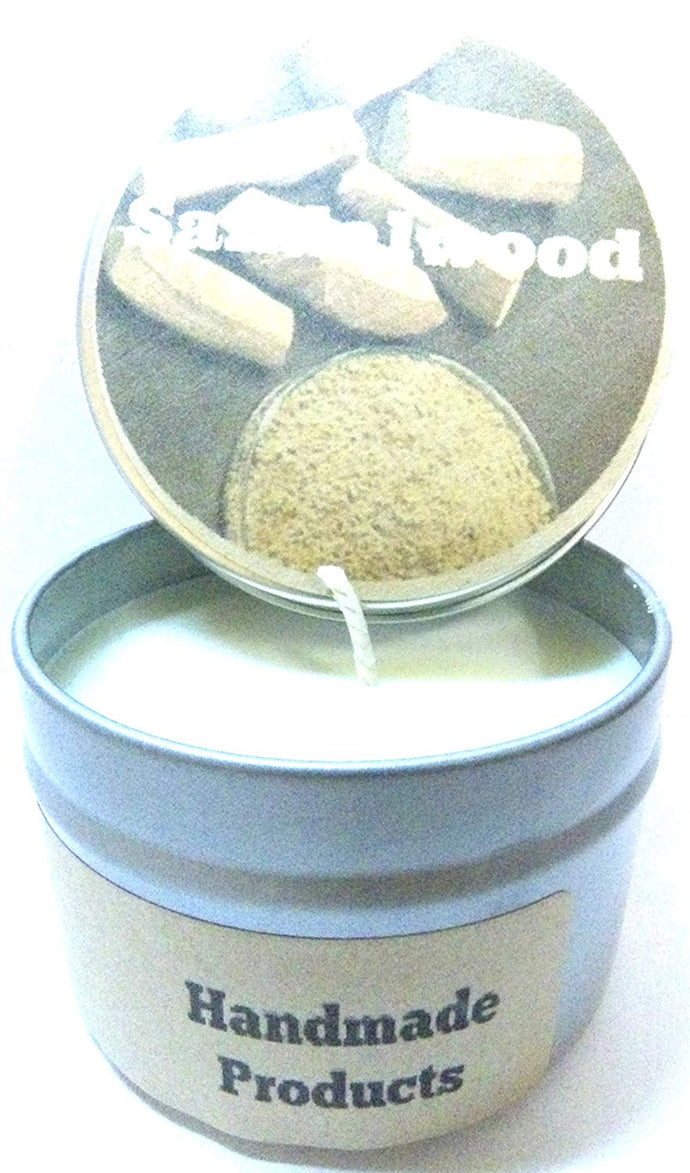Sandalwood 4oz All Natural Hand Made Soy Candle Tin Approximate Burn Time 30 Hours - mels-candles-more