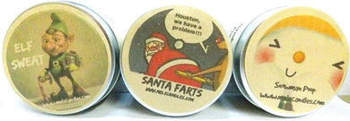 Combo - Set of 3 4oz All Natural Soy Candle Tins (Santa Farts, Snowman Poop and Elf Sweat) - Fun Christmas Scent