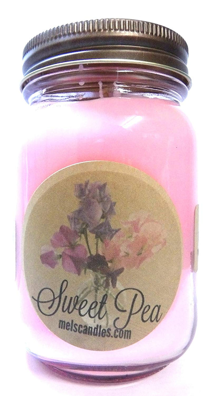 Sweet Pea 16 Ounce Country Jar 100% Soy Candle - Handmade in USA - mels-candles-more