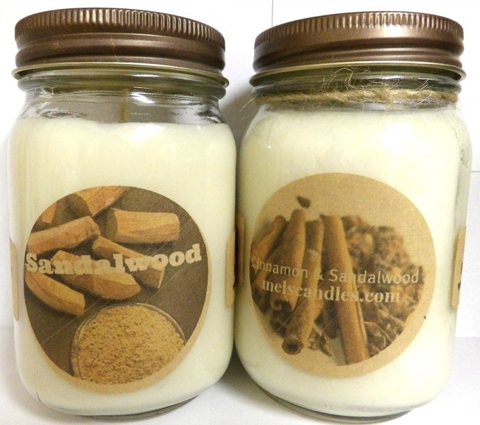 COMBO Sandalwood and Cinnamon Sandalwood - Set of Two 16oz All Natural Country Jar Soy Candles - mels-candles-more