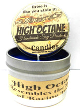 Load image into Gallery viewer, High Octane -  4 Ounce 100% Soy Candle Tin - type of Racing Fuel - mels-candles-more