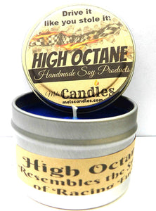 High Octane -  4 Ounce 100% Soy Candle Tin - type of Racing Fuel - mels-candles-more