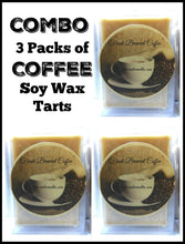 Load image into Gallery viewer, COMBO 3 Packs of Fresh Ground Coffee 3.2oz Pack of Soy Wax Tarts (6 Cubes Per Pack) - mels-candles-more