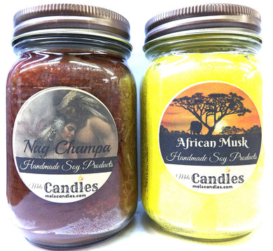 Combo - Nag Champa and African Musk Set of Two 16oz Country Jar Soy Candles Great Unique Scents - mels-candles-more