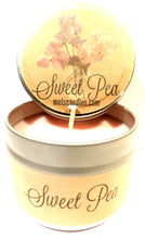 Load image into Gallery viewer, Sweet Pea 4oz All Natural Novelty Tin Soy Candle, Take It Any Where Approximate Burn Time 30 Hours - mels-candles-more