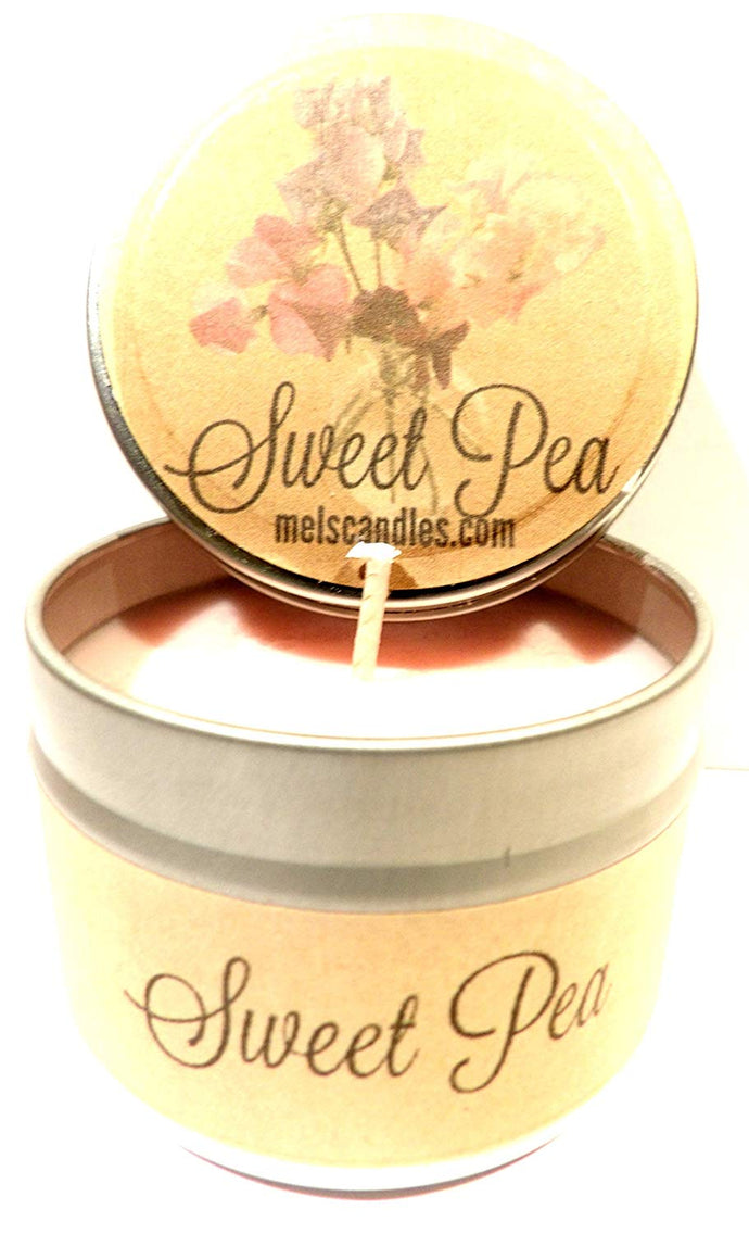 Sweet Pea 4oz All Natural Novelty Tin Soy Candle, Take It Any Where Approximate Burn Time 30 Hours - mels-candles-more