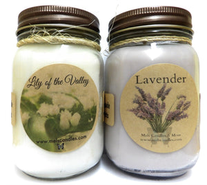 COMBO Lavender and Lily of Valley Set of TWO 16oz Soy Candles APX Burn Time 144 Hours Each - mels-candles-more