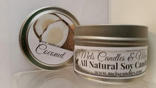 Load image into Gallery viewer, Coconut 4oz All Natural Soy Candle Tin