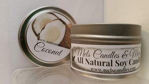 Coconut 4oz All Natural Soy Candle Tin