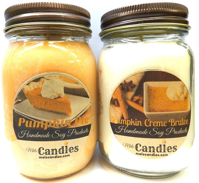 COMBO Pumpkin Pie and Pumpkin Creme Brulee - Set of Two 16oz All Natural Soy Candles - mels-candles-more