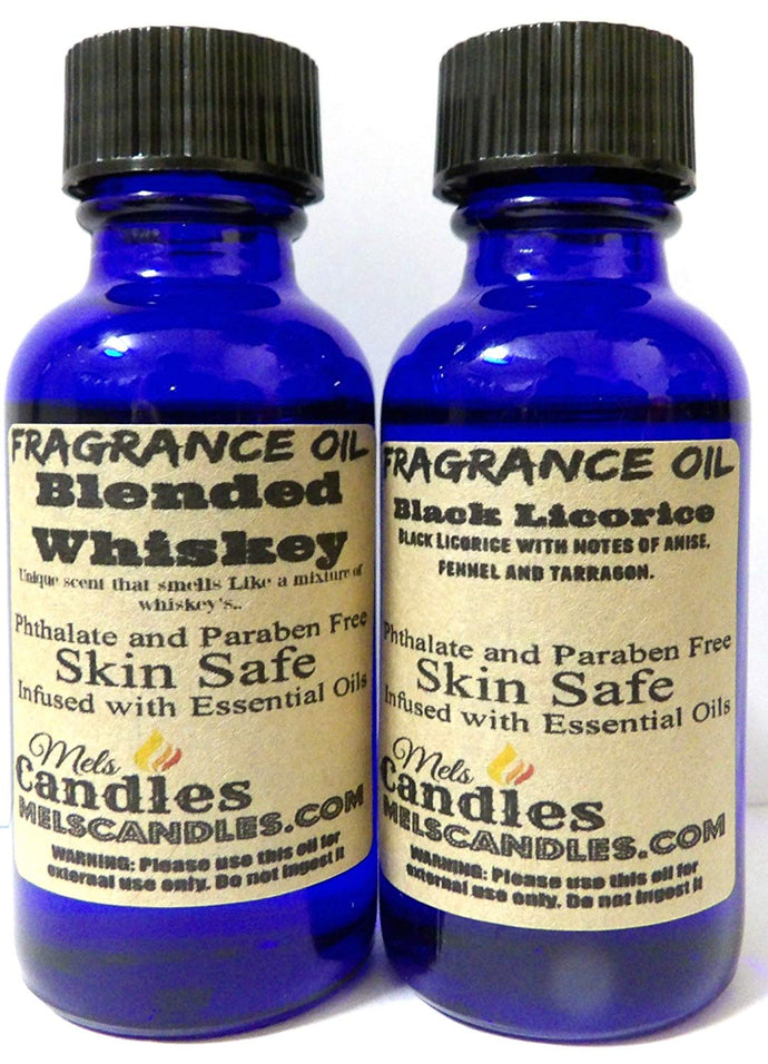 COMBO - Blended Whiskey and Black Licorice - 1 oz   29.5 ml GLASS Bottle - Premium Grade A Quality Fragrance Oil - Skin Safe Oil - mels-candles-more