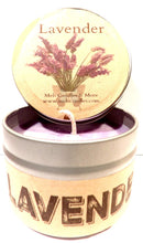 Load image into Gallery viewer, Lavender 4oz All Natural Soy Candle Tin Approximate Burn Time 30 Hours - mels-candles-more
