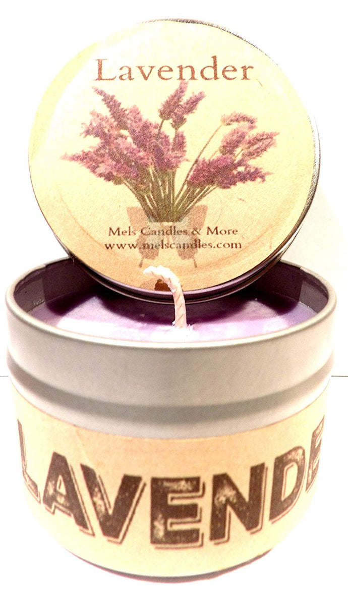 Lavender 4oz All Natural Soy Candle Tin Approximate Burn Time 30 Hours - mels-candles-more