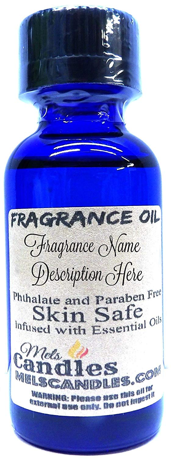 Mels Candles and More Oranges 1oz 29.5ml Blue GLASS Bottle of Skin Safe Fragrance Oil - mels-candles-more