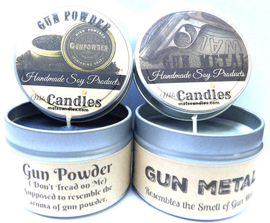 Combo - 4oz Gun Powder and Gun Metal Soy Candle Tins - Great Gift for Men - mels-candles-more