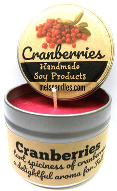 Cranberries 4oz All Natural Soy Candle Tin (Take It Any Where) Made in USA - mels-candles-more