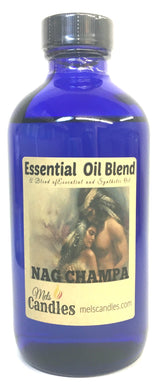 Nag Champa 8 Ounce Blue Glass Bottle of Premium Grade A Fragrance Oil Essential Oil, Skin Safe Oil, Use in Candles, Soap, Lotions, Etc